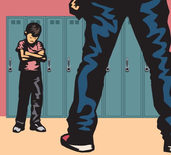 Un nino intenta someter a otro con el bullying o acoso escolar