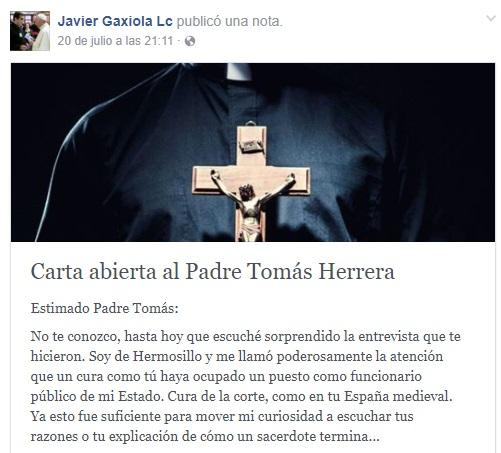 Carta abierta al Padre Tomás Herrera (Foto: Facebook Javier Gaxiola Lc)
