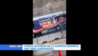 Choca, autobús, Sonora Dinamita, Nuevo León, accidente, automovilistico