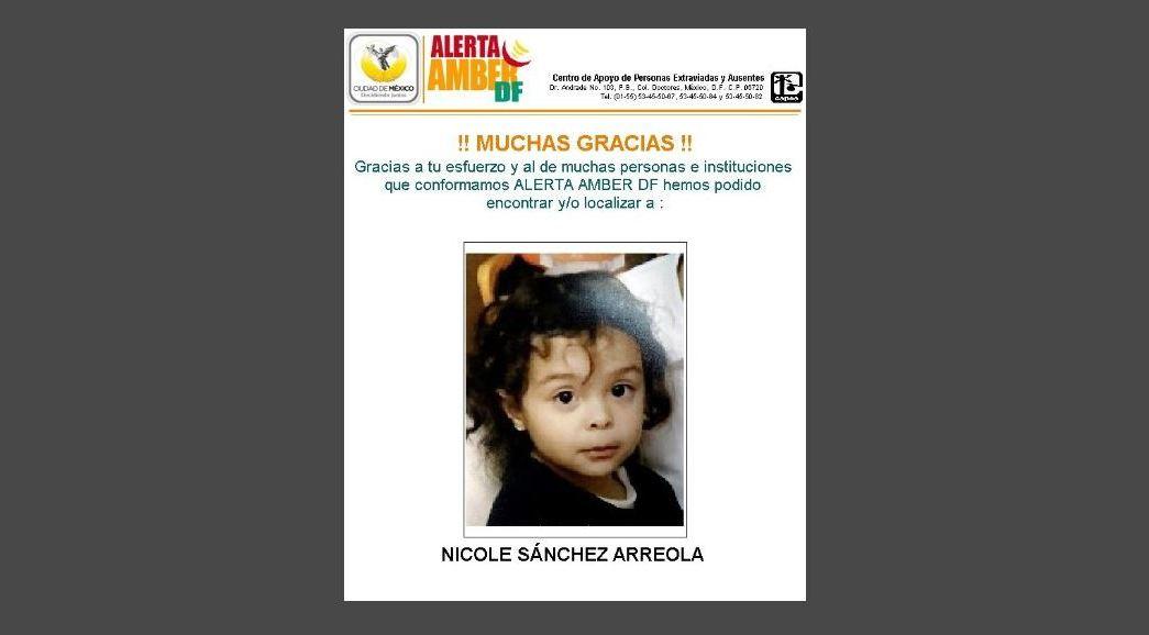 Desactivan Alerta Amber de Nicole Sánchez
