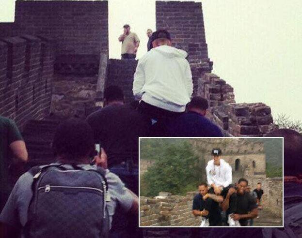china, muralla china, Justin Bieber, comportamiento, cantante, canadiense