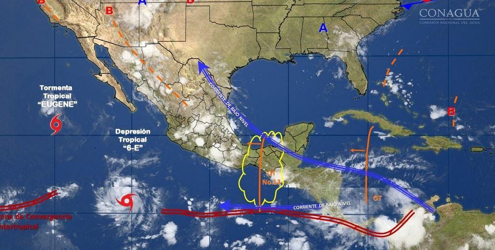 mapa con el pronostico del clima del 12 de julio
