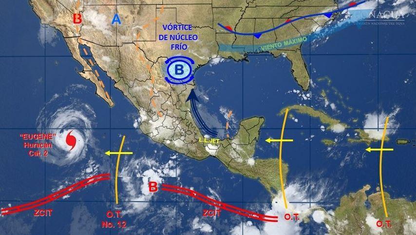 mapa con el pronostico del clima para este 10 de julio