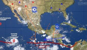 mapa con el pronostico del clima para este 13 de julio