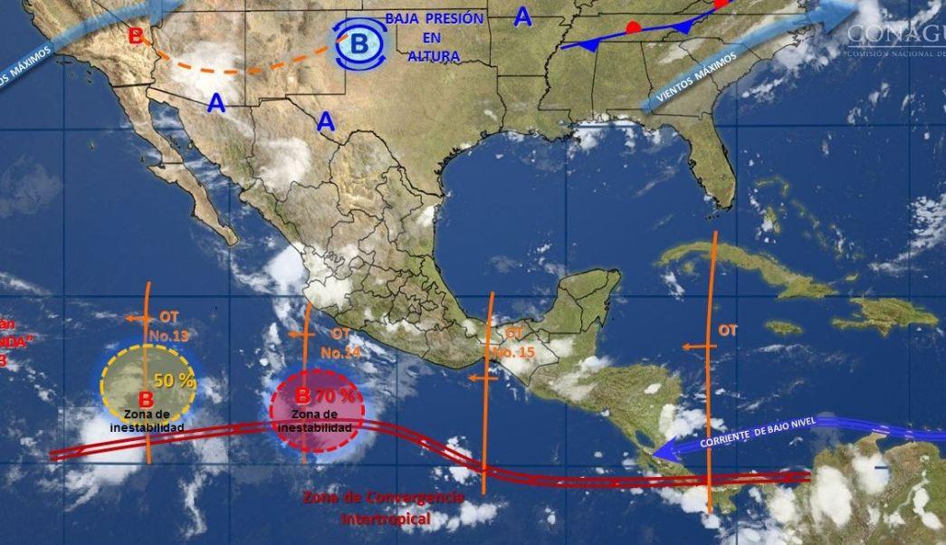 mapa con el pronostico del clima para este 17 de julio