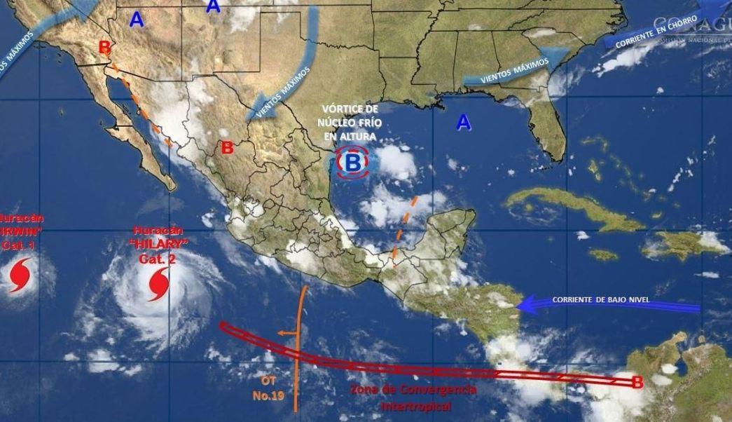 mapa con el pronostico del clima para este 26 de julio