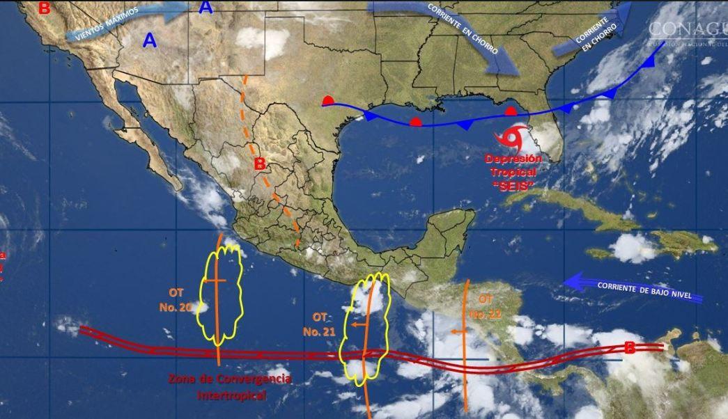 mapa con el pronostico del clima para este 31 de julio