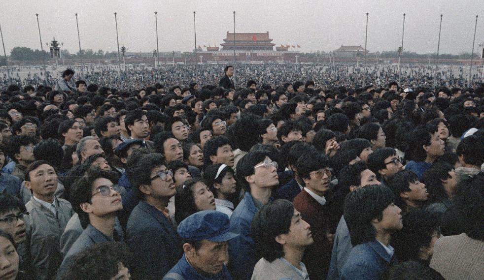 Protestas por la democracia china en la Plaza Tiananmen, en 1989