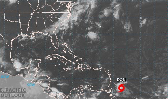 Tormenta tropical Don avanza en el Atlántico hacia el Caribe