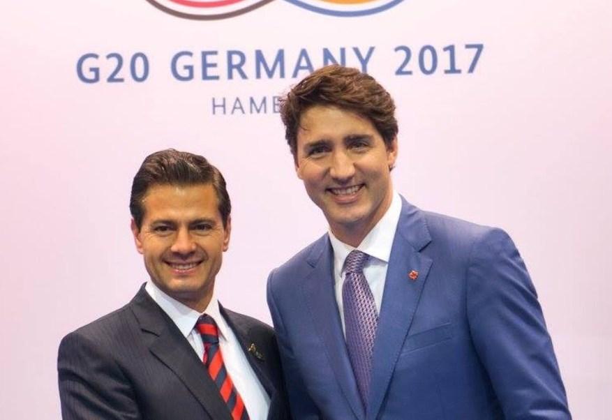 El presidente de México, Enrique Peña Nieto, y el primer ministro de Canadá, Justin Trudeau (Twitter: @PresidenciaMX)