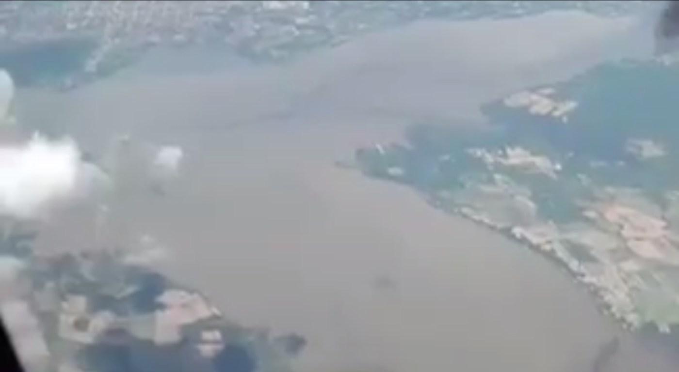 Vista aérea de la presa Benito Juárez, en Oaxaca, la cual registra 102 por ciento de su capacidad