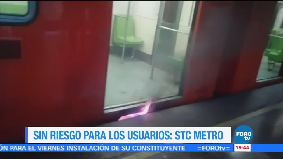 Reportan incendio en vagón del Metro
