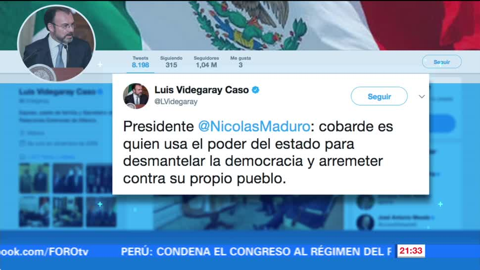 Videgaray responde a insultos de Maduro