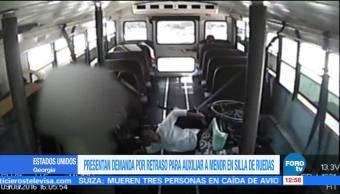 Demandan Chofer Autobus Tirar Mujer Sillas De Ruedas