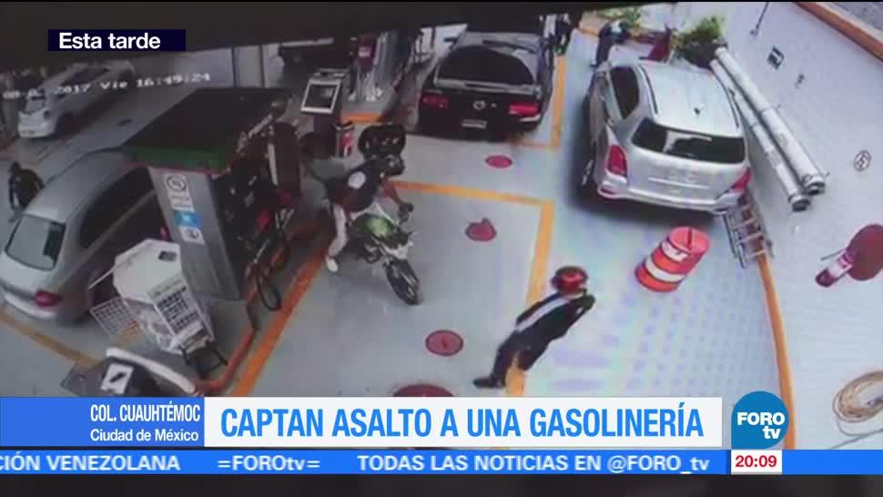 Captan asalto a gasolinera en la CDMX