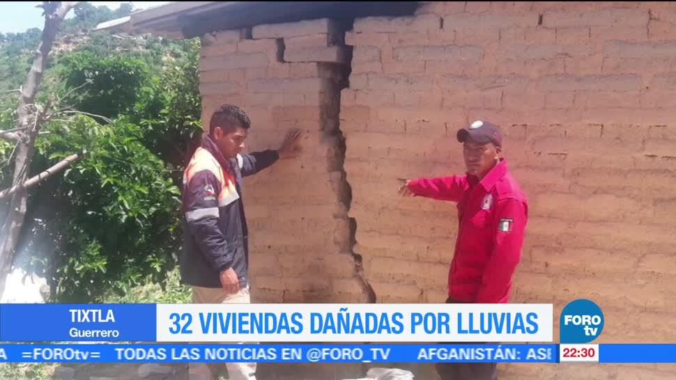 Lluvias en Guerrero causan afectaciones en 32 viviendas