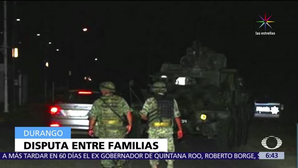 Enfrentamiento, familias, muertos, Durango