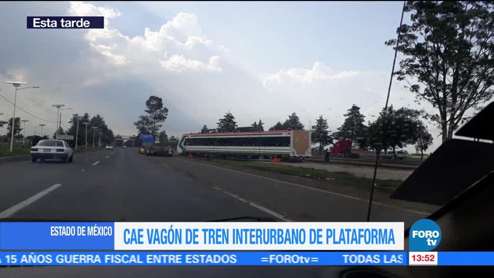 Vagón del Tren Interurbano cae de plataforma donde era transportado