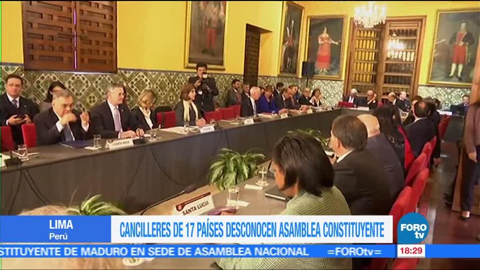 Cancilleres de 17 países desconocen la Asamblea Constituyente de Venezuela