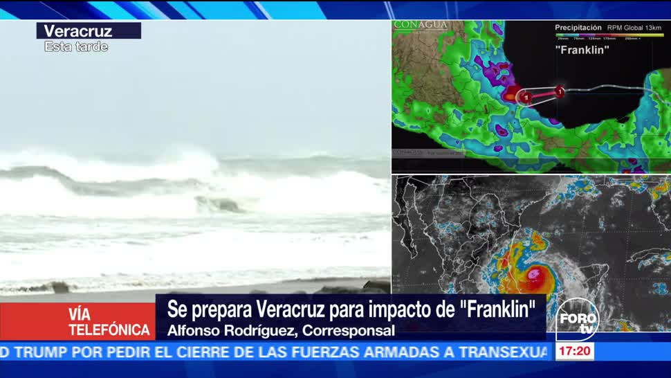 Emiten alerta roja Veracruz por Franklin