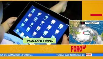 tabletas, electrónicas, lápiz, papel