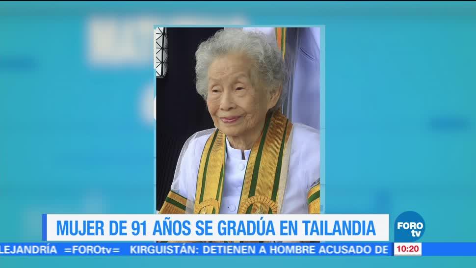 Extra Mujer 91 años gradúa Tailandia