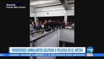 Vendedores ambulantes golpean policías Metro CDMX