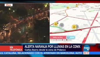 Afectaciones al tránsito por lluvia intensa en la CDMX