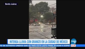Intensa lluvia con granizo en la CDMX