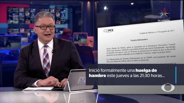 Javier Duarte está en huelga de hambre