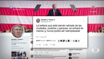 Trump, decepcionado por retiro de estatuas de los confederados