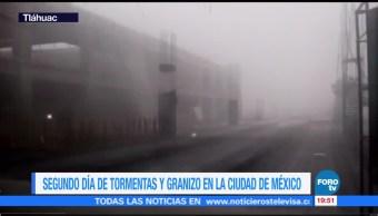 Tormenta con granizo afecta gran parte del Valle de México