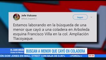 Buscan a menor que cayó en una coladera en Álvaro Obregón