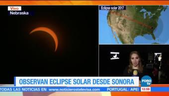 Cientos, personas, eclipse, sol