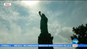 eclipse solar visto Estatua Libertad