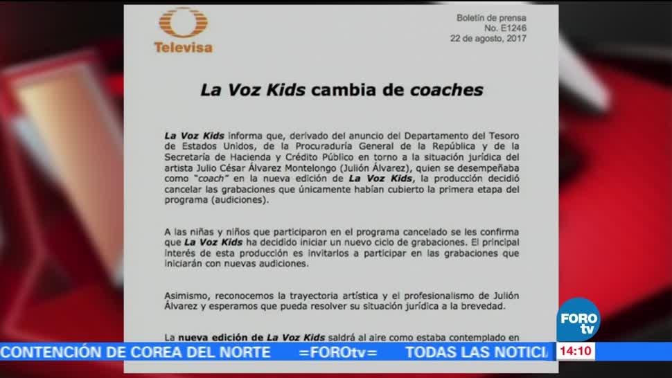Voz Kids Cambia Coaches Produccion La Voz Kids Julion Alvarez