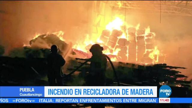 Incendio, recicladora, madera, Puebla