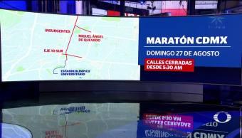 Cierres viales por Maratón en la CDMX
