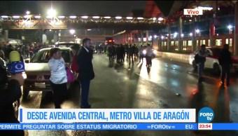 Caos en Metro Villa de Aragón, tras lluvia