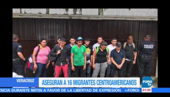 Aseguran a 16 migrantes centroamericanos en Veracruz
