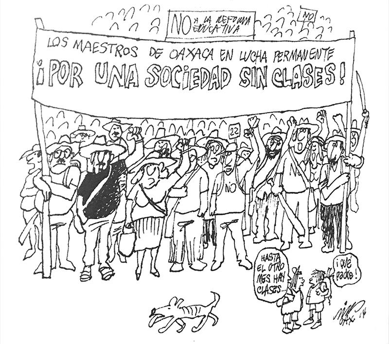 Caricatura de Rius sobre los maestros de Oaxaca y la reforma educativa