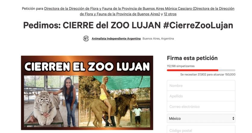 petición change.org zoologico droga animales