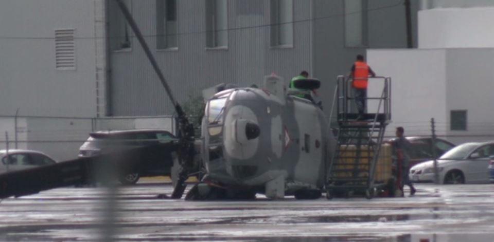 Helicóptero volteado por vientos en Nuevo León