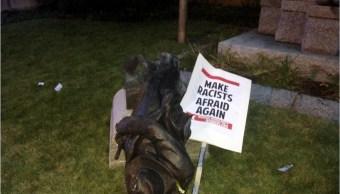 Manifestantes derriban estatua confederada en carolina