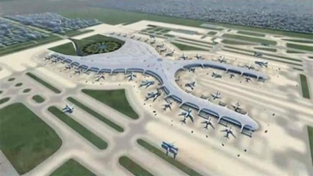Maqueta del proyecto del Nuevo Aeropuerto Internacional en la CDMX