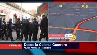 Operativo de seguridad en colonia Guerrero