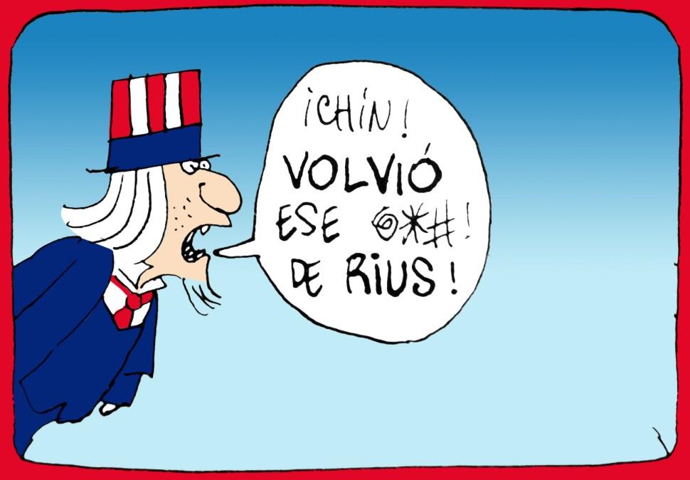 Postal de Rius criticando la política exterior