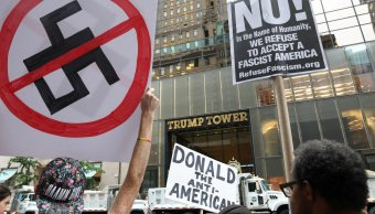 Nueva York recibe Trump protestas y grandes medidas seguridad