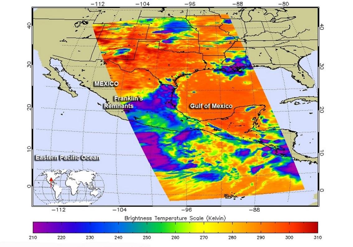 Remanente de Franklin provocaría ciclón frente a Colima y Jalisco