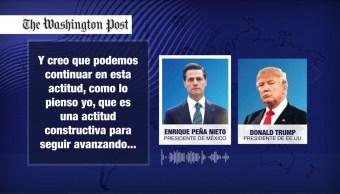Trump recomendó Peña Nieto decir solucionaremos tema del muro
